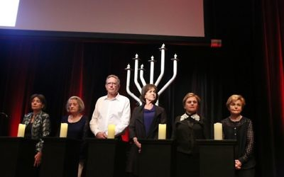 From left: Holocaust survivors Susan Warhaftig, Agi Adler, Peter and Yvonne Halas, Dasia Black Gutman and Charlotte Vidor. Photo: Giselle Haber