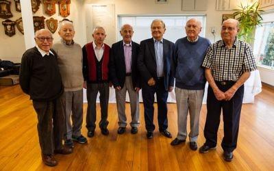 The Buchenwald Boys from left: Joe Szwarcberg, Henry Salter, Szaja Chaskiel and Sam Michalowicz. Photo: Zak Ben-Moshe