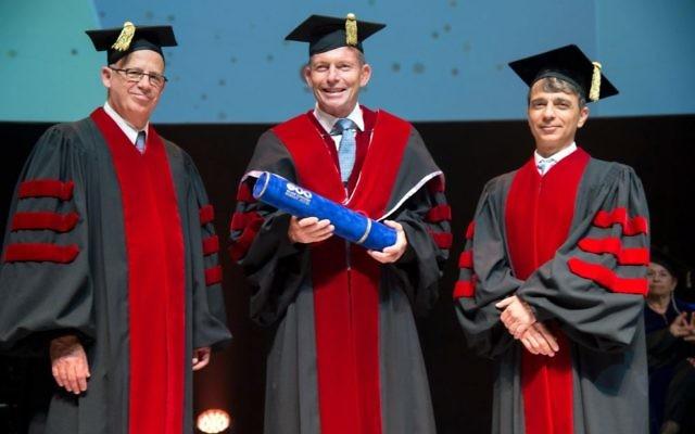 Tony Abbott (centre) with Tel Aviv University president Professor Joseph Klafter (left) and Professor Yaron Oz.