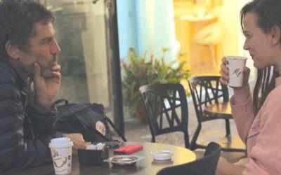 Bobbi Jean Smith (right) chats with Batsheva Dance Company artistic director Ohad Naharin.