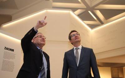 Norman Seligman (left) with Australia's next ambassador to Israel, Chris Cannan, at the Sydney Jewish Museum. Photo: Shane Desiatnik