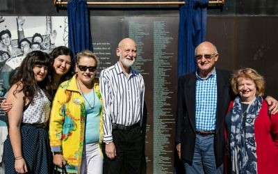 From left: Lucilla, Isobel, Nicola and Michael Ronai with Bob and Deirdre Ronai at the new panel added to the Migrant Welcome Wall in Sydney on May 7.