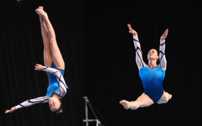 Deborah Greenbaum (right) and Jaymi Aronowitz at the Australian Gymnastics Championships in Melbourne.