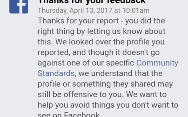 A screenshot of the standard reply Facebook sent to the Jewish teenager after she complained of highly abusive, anti-Semitic posts.