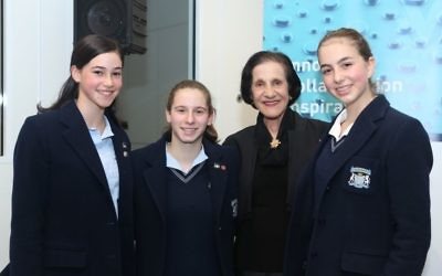 Professor Dame Marie Bashir with Moriah College students (from left) Leila Freedman, Jaime Levine and Hannah Whitmont. Photo: Giselle Haber
