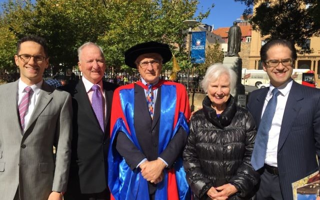 Professor Paul Zimmet (centre) celebrates at the University of Adelaide with (from left) his son Dr Marcel Zimmet, siblings Dr Leon Zimmet and Dr Rea Zimmet, and son Dr Hendrik  Zimmet.