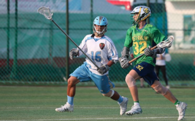 Australian lacrosse player Liam Harari plays against the Taiwanese team in South Korea last week. Photo: Liss Ralston