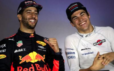Australian Daniel Ricciardo (left) with Lance Stroll after the Grand Prix in Azerbaijan.