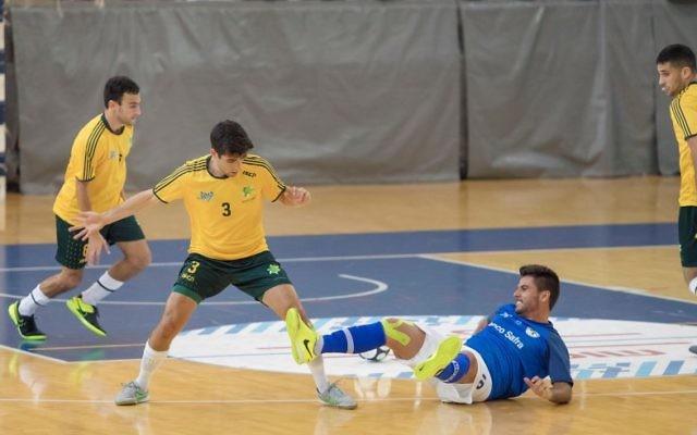Jarrod Basger makes a tackle against Brazil.