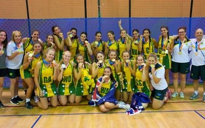 Australia's junior and open netball teams celebrate winning gold medals at the 2017 Maccabiah Games in Israel.