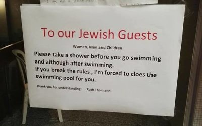 The sign at the hotel in Switzerland put up by manager Ruth Thomas, who has since apologised.