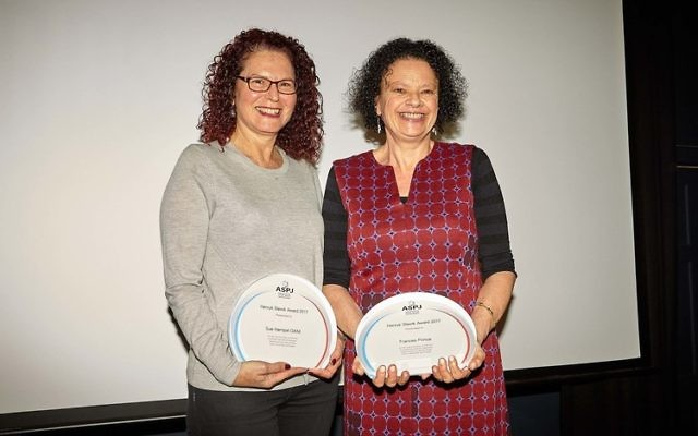 Sue Hampel (left) and Frances Prince with their awards.