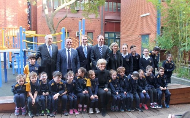 Julie Bishop (front) with Yavneh students, politicians and communal leaders she met while visiting the Jewish school last week.