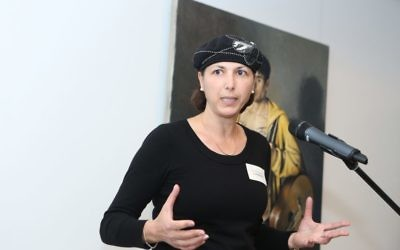 Professor Shulamit Levenberg speaking at a Technion Australia event on August 3 at the Olsen Gallery, which featured an exhibition by artist Peter Churcher. Photo: Giselle Haber.