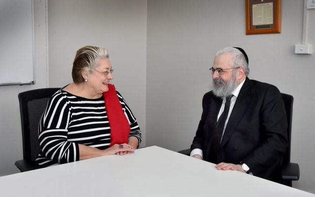 Former Waverley mayor Sally Betts with Rabbi Yehoram Ulman.  Photo: Noel Kessel