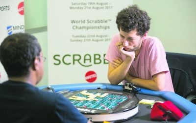 David Eldar in the finals of the World Scrabble Championship. 	Photo: Andy Paradise.