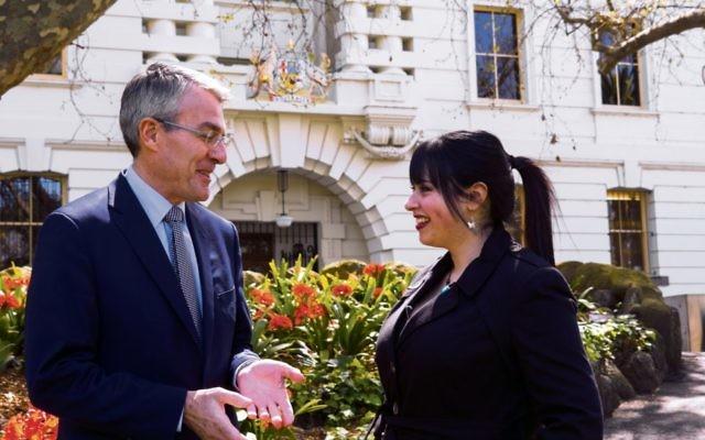 Shadow attorney-general Mark Dreyfus (left) with Dassi Erlich.