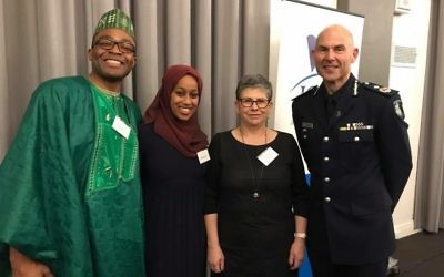 From left: Fred Alale, president of the Nigerian Society of Victoria, PriceWaterhouseCoopers intern Bareetu Aba-Bulgu, JCCV president Jennifer Huppert, and Victoria Police deputy commissioner Andrew Crisp.
