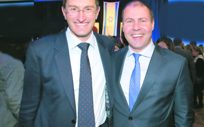 Julian Leeser (left) and Josh Frydenberg at the Yom Haatzmaut party. Photo: Noel Kessel.