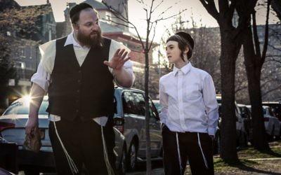 A scene from the Yiddish film Menashe starring Menashe Lustig.
