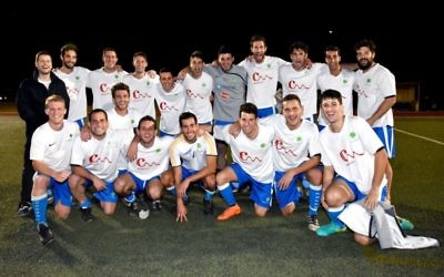 The winning ESFA men's division 2 grand final team, Maccabi B, which beat Maccabi A by 4-0 at Sydney's Hensley stadium on September 3. Photo: Noel Kessel