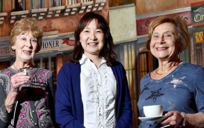 Chiune-Sempo Sugihara's granddaughter Madoka (centre) with Yola Center (left) and Liz Sapir (right). Photo: Noel Kessel
