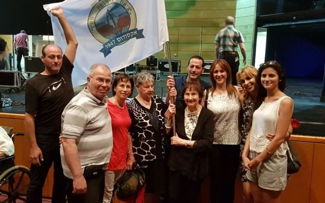 Rita Migdal (centre) with family at the 70 Year Exodus Commemoration in Haifa last week.