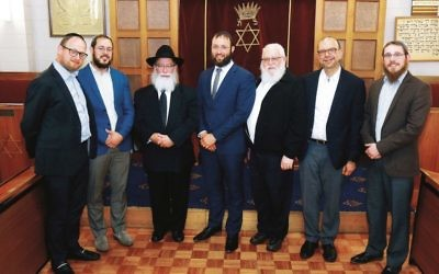 Some of the RCV executive and how they voted: Rabbi Moshe Kahn (against), Rabbi Chaim Cowen (for), Rabbi Mordechai Gutnick (for) Rabbi Daniel Rabin (against) Rabbi Phillip Heilbrunn (for), Rabbi Ralph Genende (against, resigned), Rabbi Shmuel Karnowsky (against). Photo: Peter Haskin