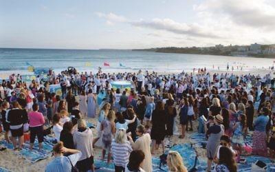 Last year's Kabbalat Shabbat ceremony at Bondi Beach.