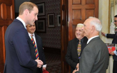 From left: Prince William, strategist Matt Busby Andrews, Abe Schwarz, and Alfred (Uncle Boydie) Turner in Sydney in 2014.