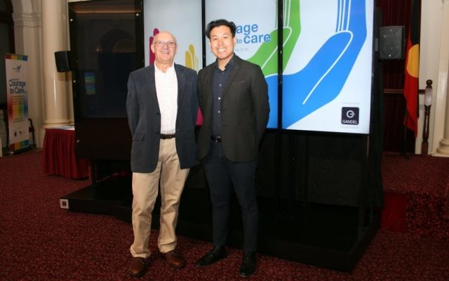 From left: Dr Tony Weldon, Courage to Care (Victoria) chair, and Alpha Cheng.