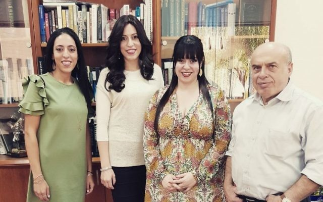 From left to right: sisters Elly Sapper, Nicole Meyer and Dassi Erlich with Jewish Agency chairman Natan Sharansky.