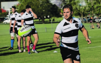 David Horwitz warming up for the Barbarians before their win against the Classic Wallabies in Lismore on October 24. Photo: Barbarians Football Club