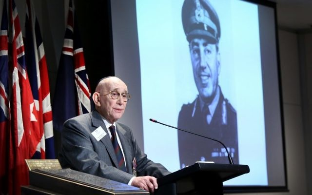 Harvey Baden pays tribute to the late Major-General Paul Cullen. Photo: Noel Kessel