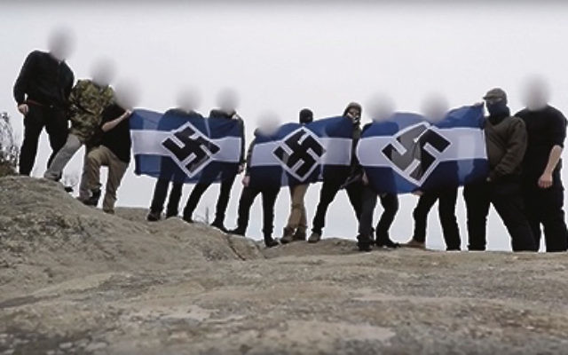 A screenshot from the Antipodean Resistance video.