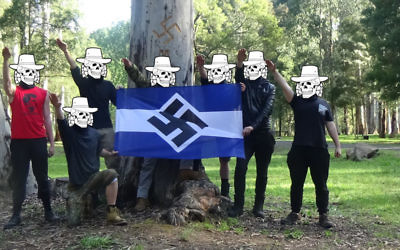 A photo from the Antipodean Resistance showing members at a camp in Victoria.
