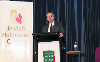 US Holocaust scholar Mark Weitzman delivers the Betty and Shmuel Rosenkranz Oration at a Kristallnacht commemoration in Melbourne.