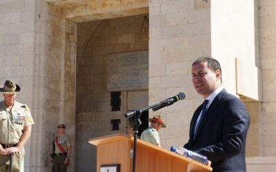 Josh Frydenberg marking Anzac Day in Israel earlier this year.