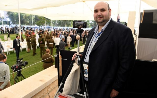 Joshua Levi at a ceremony in Israel in 2017 marking the 100th anniversary of the Battle of Beersheba. Photo: AAP Image/Dan Peled