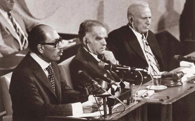 Egyptian president Anwar Sadat addressing the Knesset in 1977.
