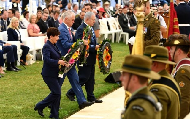 New Zealand Governor-General Patsy Reddy, then prime minister Malcolm Turnbull and Israeli leader Benjamin Netanyahu lay wreaths during a memorial ceremony at the Beersheba War Cemetery in Beersheba, Israel, in 2017. Photo: AAP Image/Dan Peled