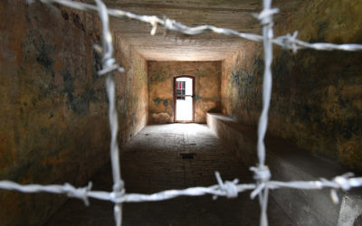 A view of the gas chamber at Stutthof. Photo: Bruce Adams-Pool/Getty Images