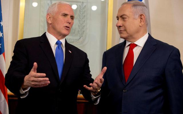 Mike Pence with Benjamin Netanyahu. Photo: Reuters/Ariel Schalit/JPost
