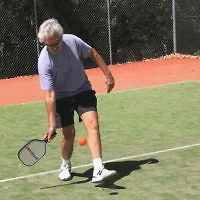 Bob Mendelsohn entered this photo of an American friend playing pickleball in Sydney.