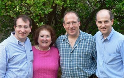 Sophie Caplan with her sons Ben, Gideon and Jonathan.