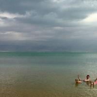 Edward Baral and daughter Lee enjoy a leisurely float on the Dead Sea.
