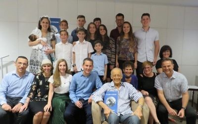 Henry Briggs with his family at the launch of his autobiography in late December.