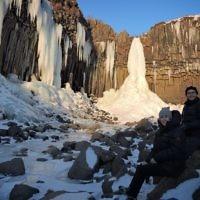 Lori Gross entered this photo taken at the frozen Svartifoss Waterfall, Iceland.