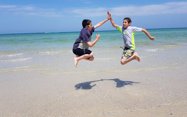 Miriam Abenaim entered this photo of two Abenaim brothers at Aspendale beach, Melbourne.