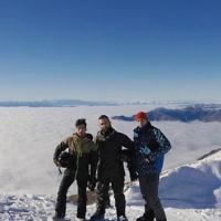 Noam Cohney, Hona Dodge and Ari Fisher at Treble Cone ski resort in New Zealand.
